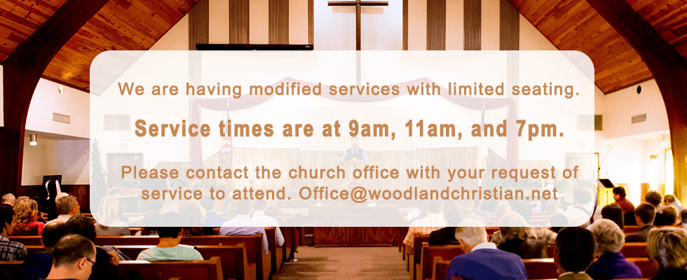 Service times are 9am, 11am, and 7pm